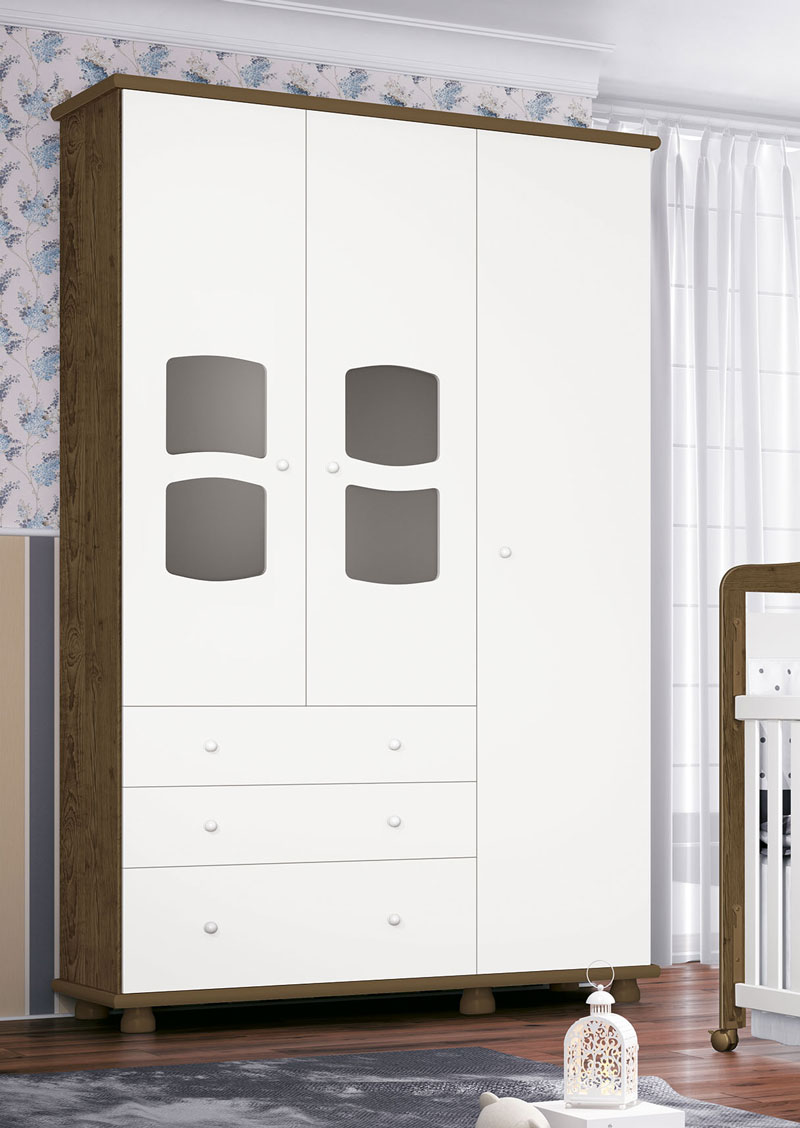 Guarda Roupa Nicoli 3 Portas Branco com Gengibre - Imaza Móveis