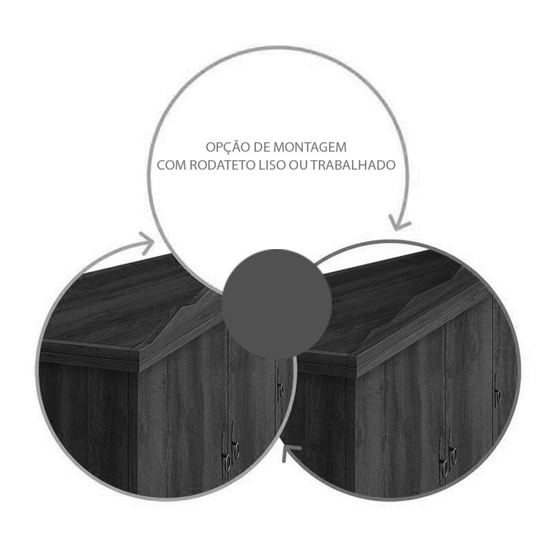 Guarda Roupa Retrô Triplex 5 Portas Império Nogal Rústico - Edn Móveis