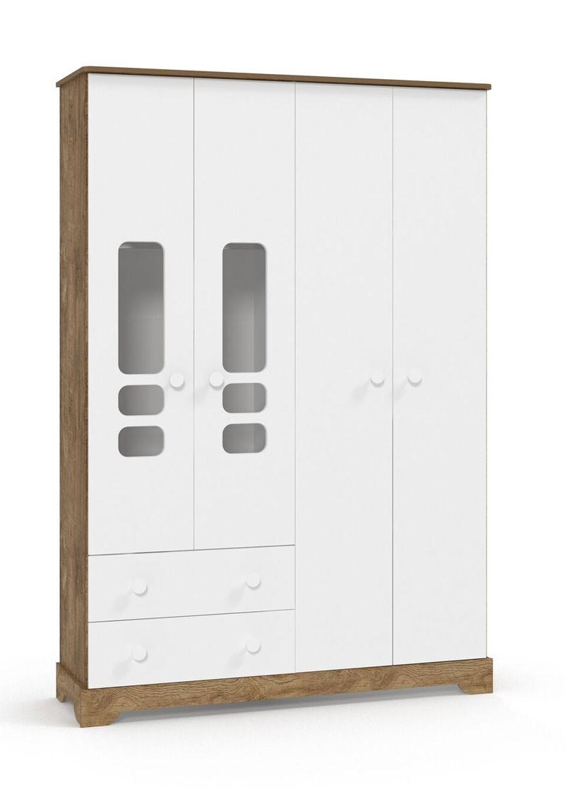 Guarda Roupa Smart 4 Portas Branco Fosco com Teka - Matic Móveis