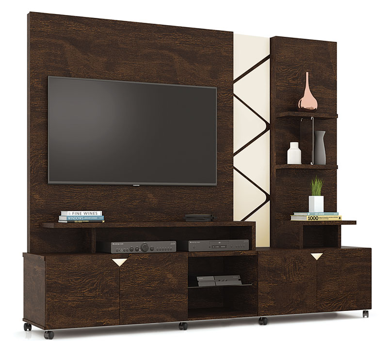 Home Theater Cross Noce com Off White - Lukaliam Moveis