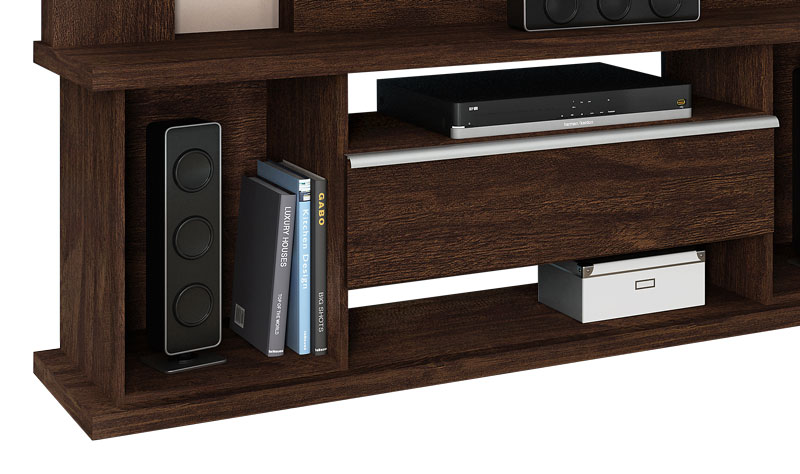 Home Theater Onix Noce com Off White - Lukaliam Moveis