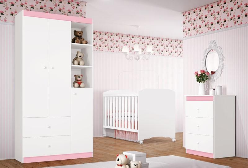 Jogo de Quarto para Bebe Completo Encanto Branco com Rosa - Imaza Moveis