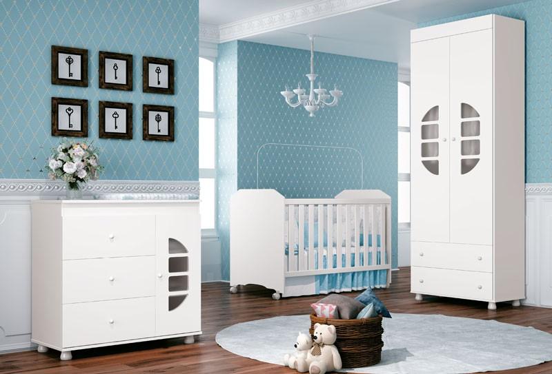 Jogo de Quarto para Bebê Completo Lucas 2 Portas Branco - Imaza Móveis