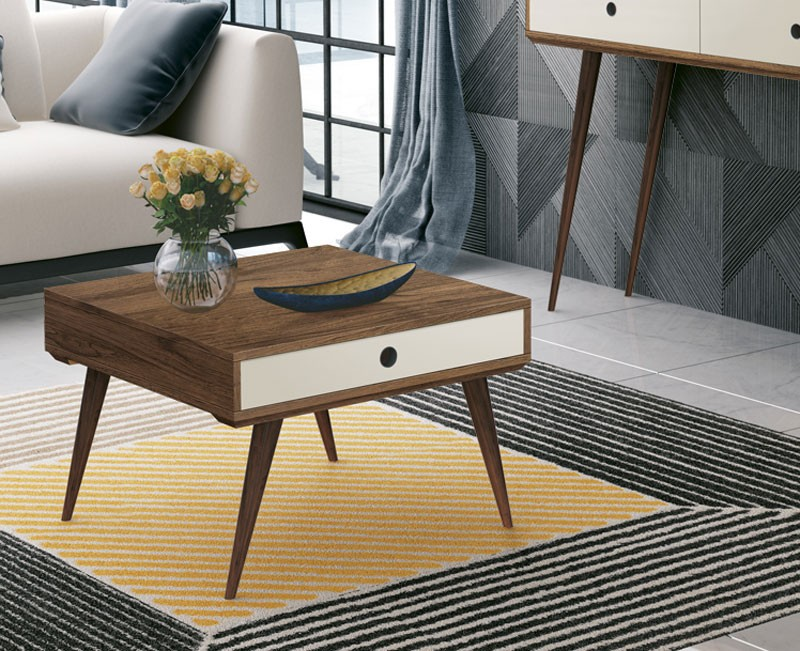 Mesa de Centro Dakota Rovere Italiano com Off White - Edn Moveis