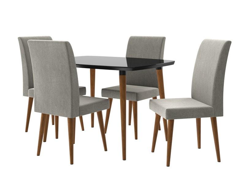 Mesa de Jantar com 4 Cadeiras Jade Black com Cinza Lunar - RV Moveis