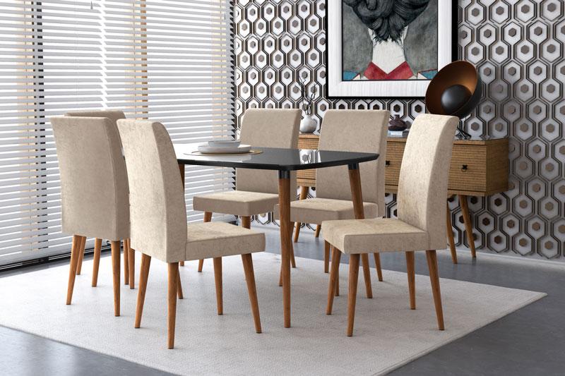 Mesa de Jantar com 6 Cadeiras Jade Black com Suede Bege - RV Moveis