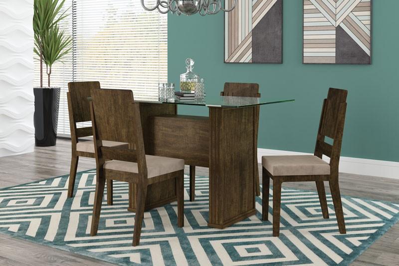 Mesa de Jantar Europa com 4 Cadeiras Esmeralda Imbuia com Suede Bege - RV Moveis