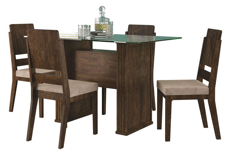 Mesa de Jantar Europa com 4 Cadeiras Esmeralda Noce com Suede Bege - RV Moveis