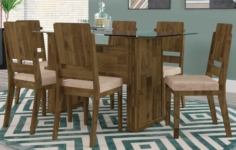 Mesa de Jantar Europa com 6 Cadeiras Esmeralda Amadeirado com Suede Bege - RV Moveis
