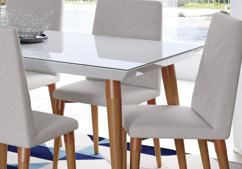Adesivo Para Mesa De Vidro Branco ~ Mesa de Jantar Liv 6 lugares com Vidro Branco c Natural