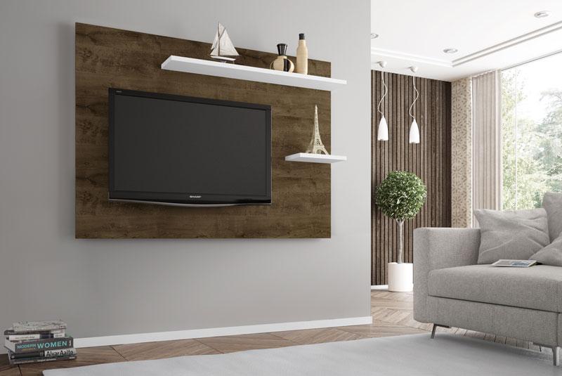 Painel para Tv 1.6 Retrô Onix Madeira Rústica com Branco - Móveis Bechara