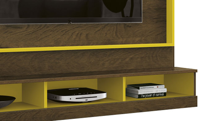 Painel para Tv Arena Nogal Rústico com Amarelo - Edn Móveis