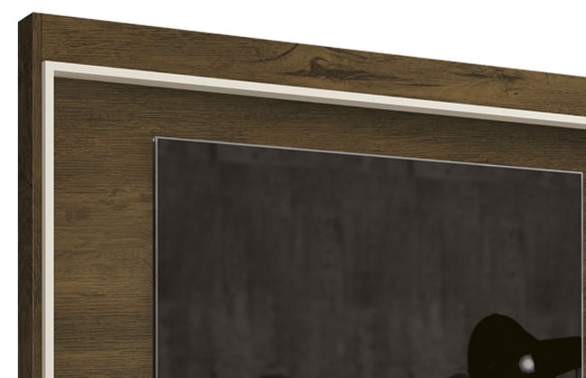 Painel para Tv Arena Nogal Rustico com Off White - Edn Moveis