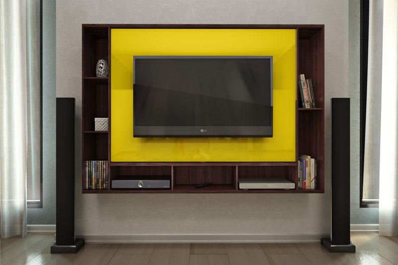 Painel para Tv JB 5018 Imbuia e Amarelo - JB Bechara