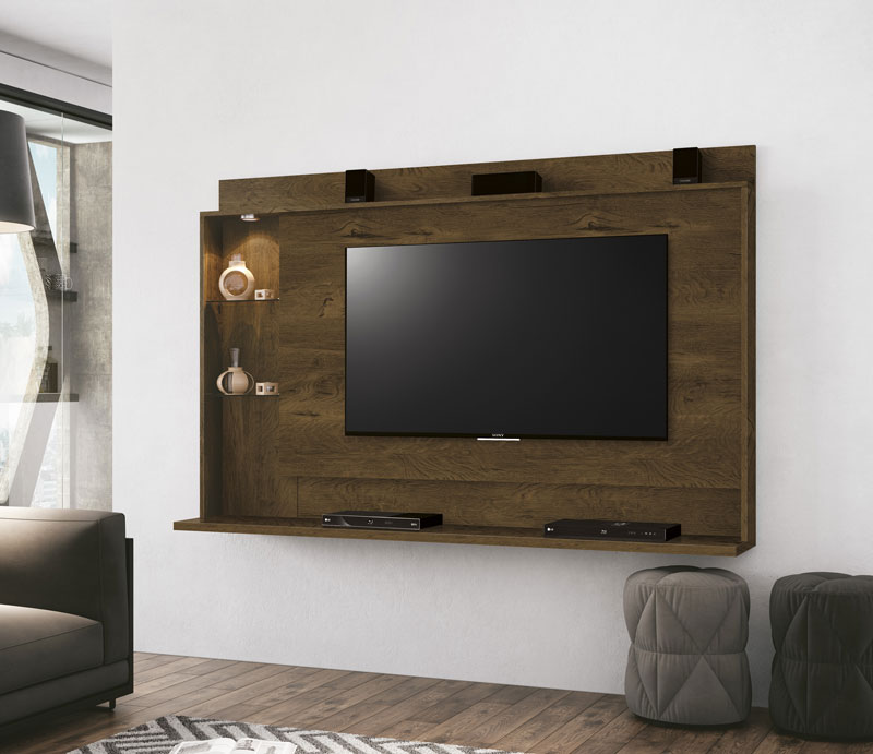 Painel para Tv Lumini Nogal Rústico - Edn Móveis