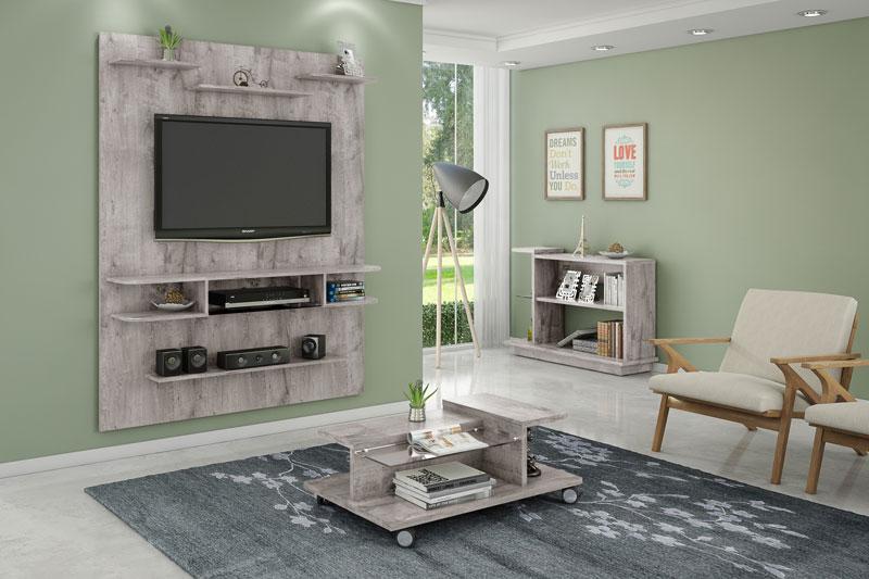 Painel para Tv Sigma Vanilla Rústico - Móveis Bechara