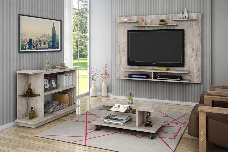 Painel para Tv Solaris Vanilla Rústico - Móveis Bechara
