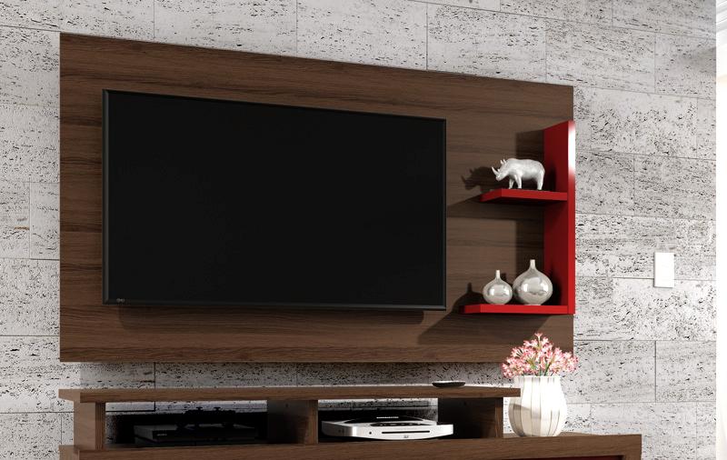 Painel para Tv Universo Amêndoa com Vermelho - Patrimar Móveis