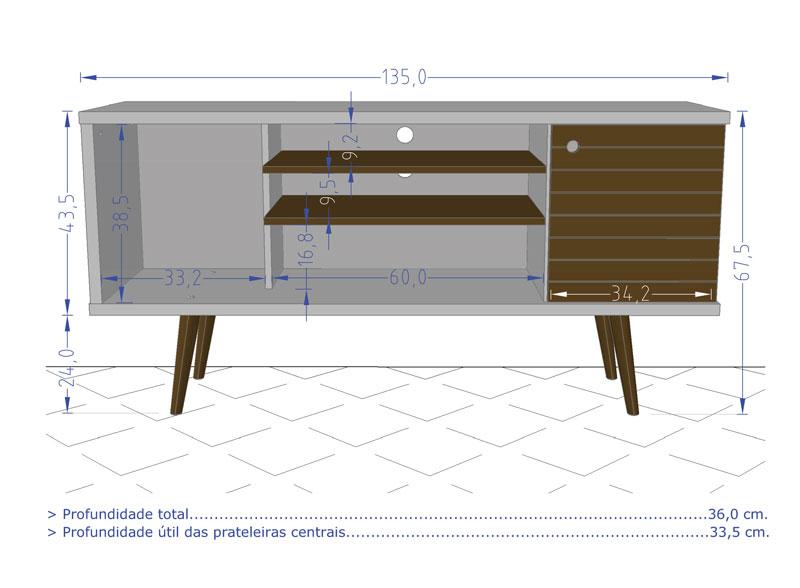 Rack 1.3 Retro Safira Madeira Rustica - Moveis Bechara