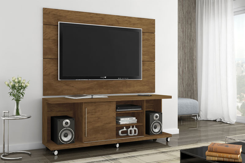 Rack com Painel Grafite Gold Wood - Germai Moveis
