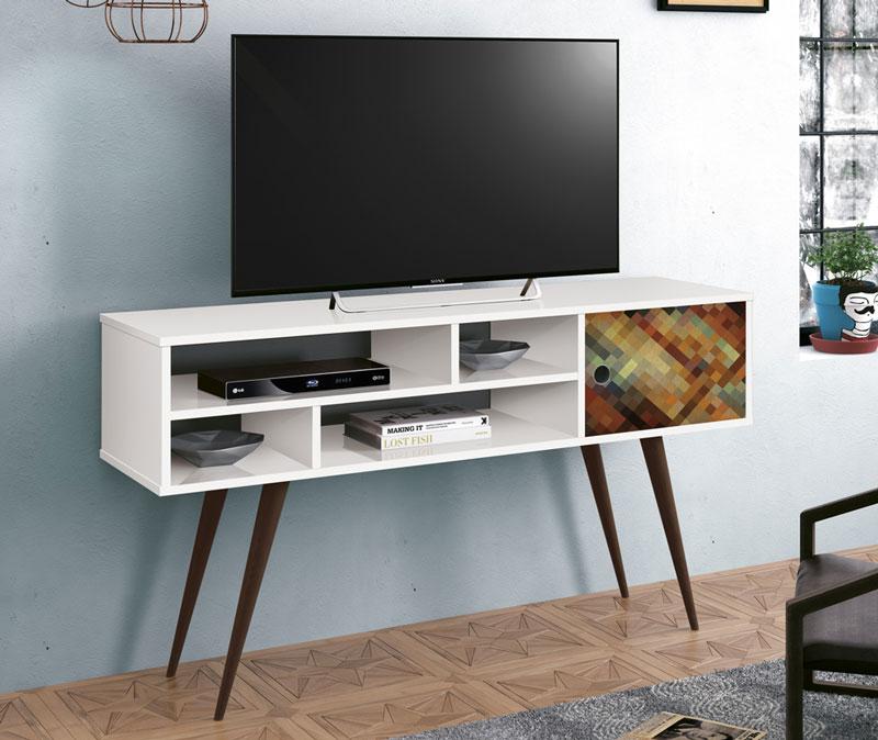 Rack para Tv Kenzo Branco com Silk - Edn Móveis