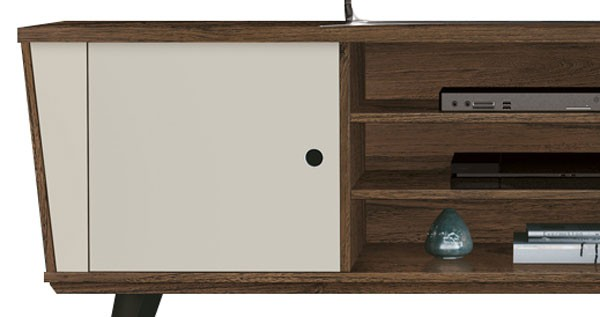 Rack para Tv Polo Rovere Italiano com Off White - Edn Móveis