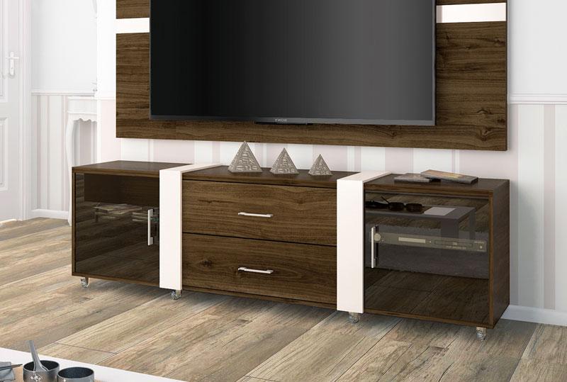 Rack para tv refletto imbuia com off white imcal for Sala de estar off white