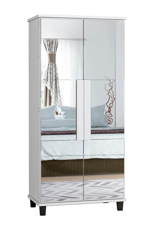 Sapateira com Espelho Requinte Branca - RV Móveis