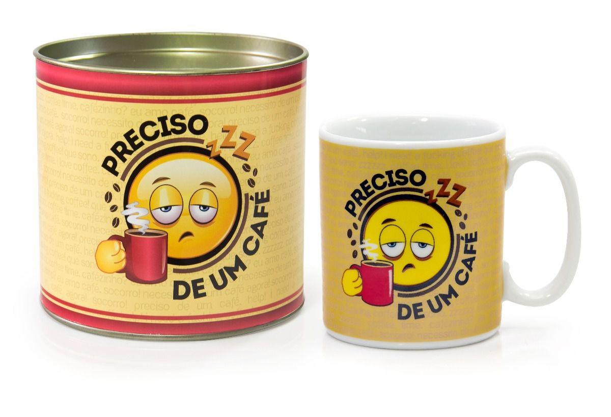Caneca Porcelana Preciso de Um Café + Tubete