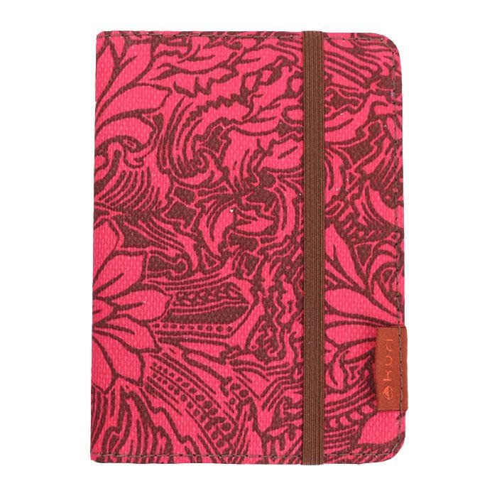 porta-passaporte DAN | floral marrom-rosa