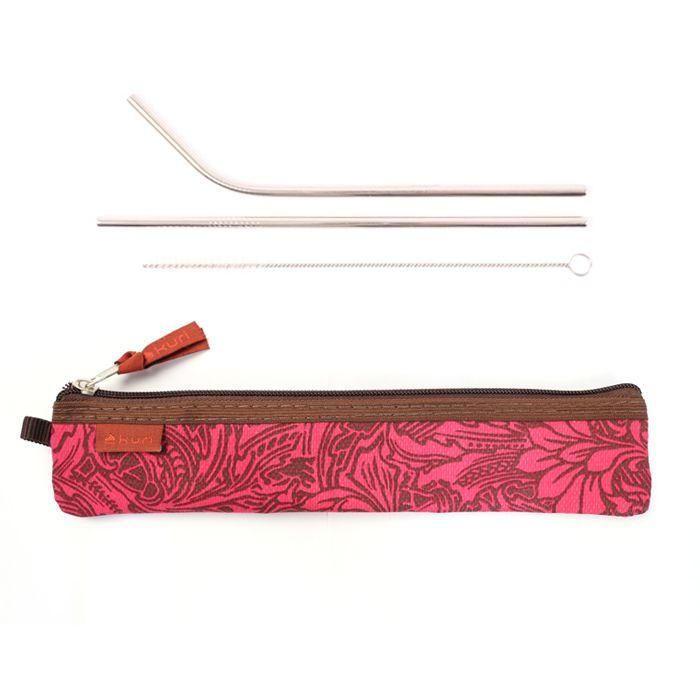 porta talher e porta canudo Paul | floral marrom-rosa