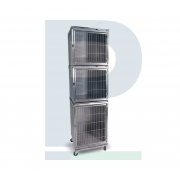 Canil de Inox para 03 Animais - Suporte de Soro e Suporte de Prancheta