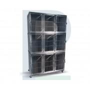 Gatil de Inox para 09 Animais - Suporte de Soro e Prancheta