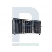 Módulo de Canil Pequeno em Inox - 3 Animais com Suporte de Soro e Suporte de Prancheta