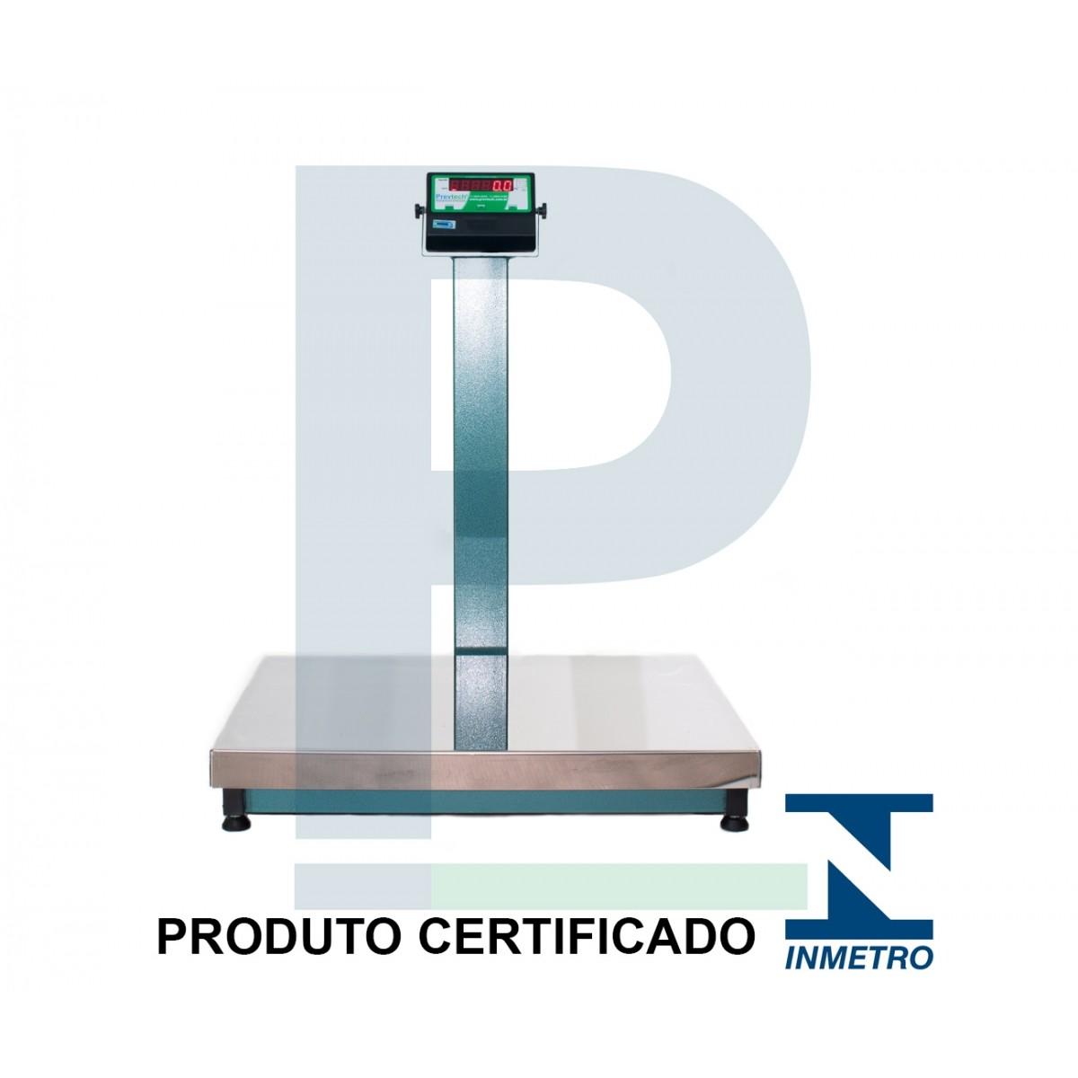 Balança Digital Inox com Coluna 300 Kg 80x60 Cm
