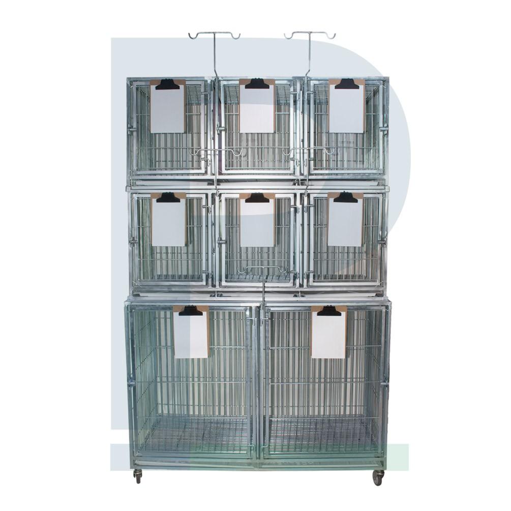 Canil de ferro para 08 animais com suporte de soro e suporte de prancheta