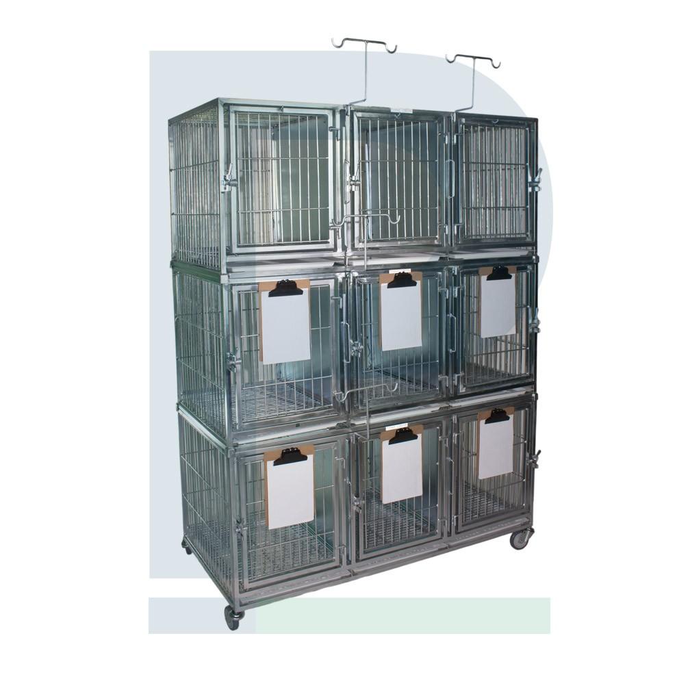 Canil de ferro para 09 animais com suporte de soro e suporte de prancheta