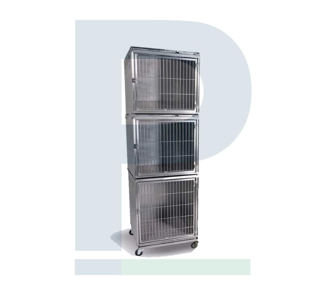 Gatil de Inox para 03 Animais - Suporte de Soro e Prancheta