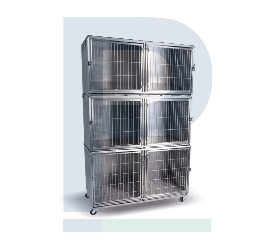 Gatil de Inox para 06 Animais - Suporte de Soro e Prancheta