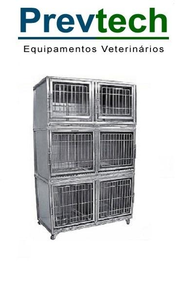 GATIL EM AÇO INÓX PARA 6 ANIMAIS COM SUPORTE DE SORO E PRANCHETA