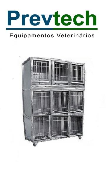 GATIL EM AÇO INÓX PARA 9 ANIMAIS COM SUPORTE DE SORO E PRANCHETA