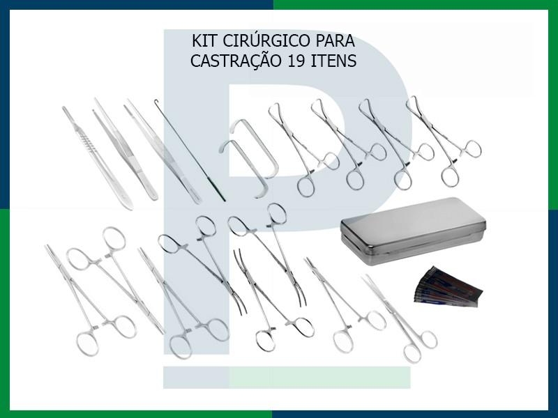 KIT CIRÚRGICO 19 ITENS PARA CASTRAÇÃO COMPLETO