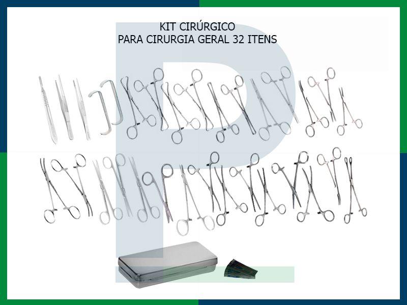 Kit Instrumental Cirúrgico 32 itens para Cirurgia Geral