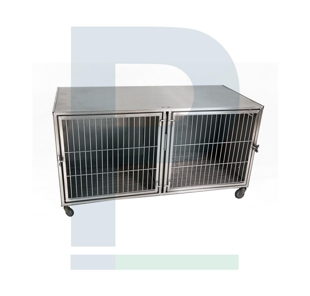 Módulo de canil de inox Pequeno para 02 animais com suporte de soro e suporte de prancheta
