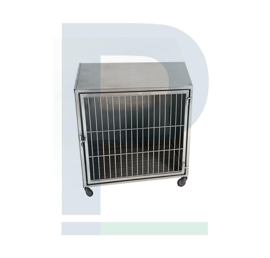 Módulo de gatil de inox para 01 animal com suporte de soro e suporte de prancheta