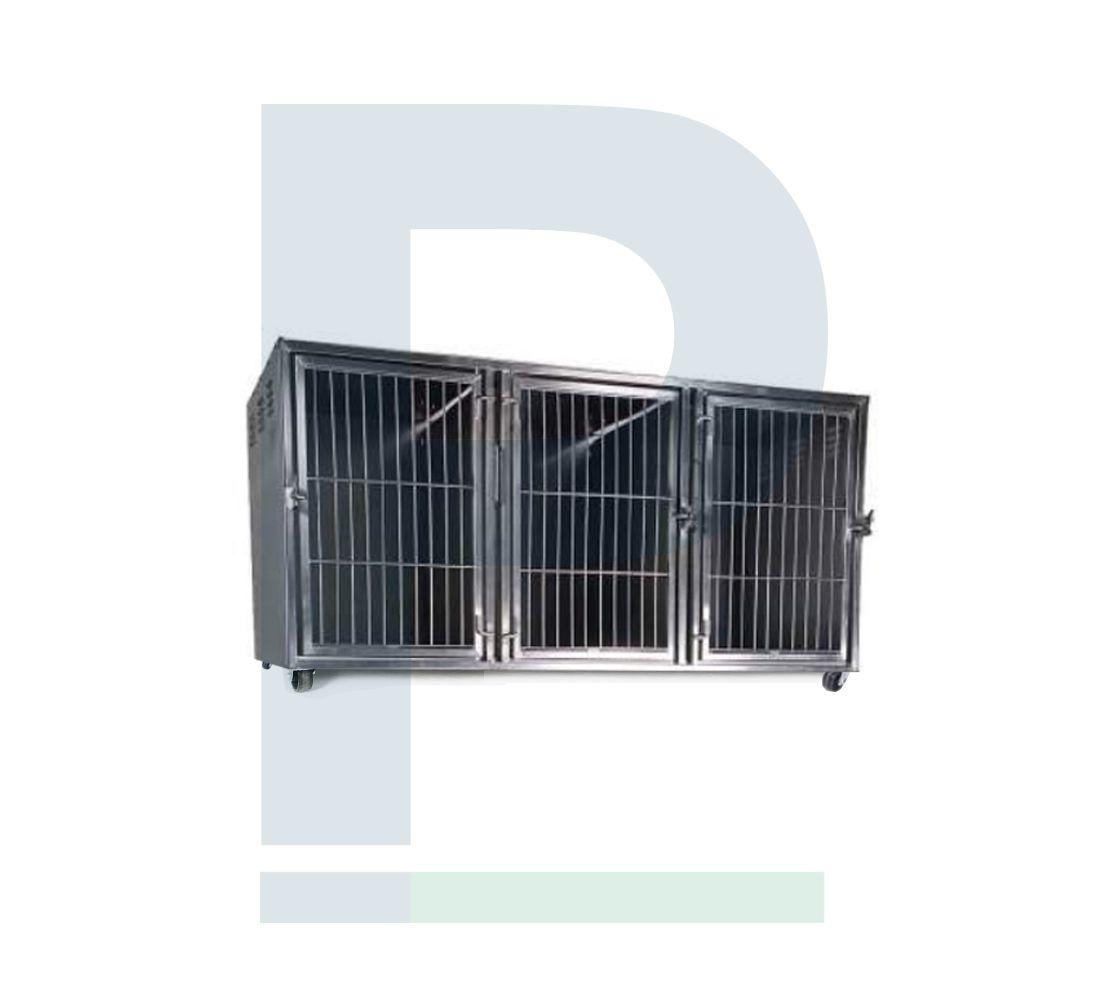 Módulo de Gatil em Inox - 3 Animais com Suporte de Soro e Suporte de Prancheta