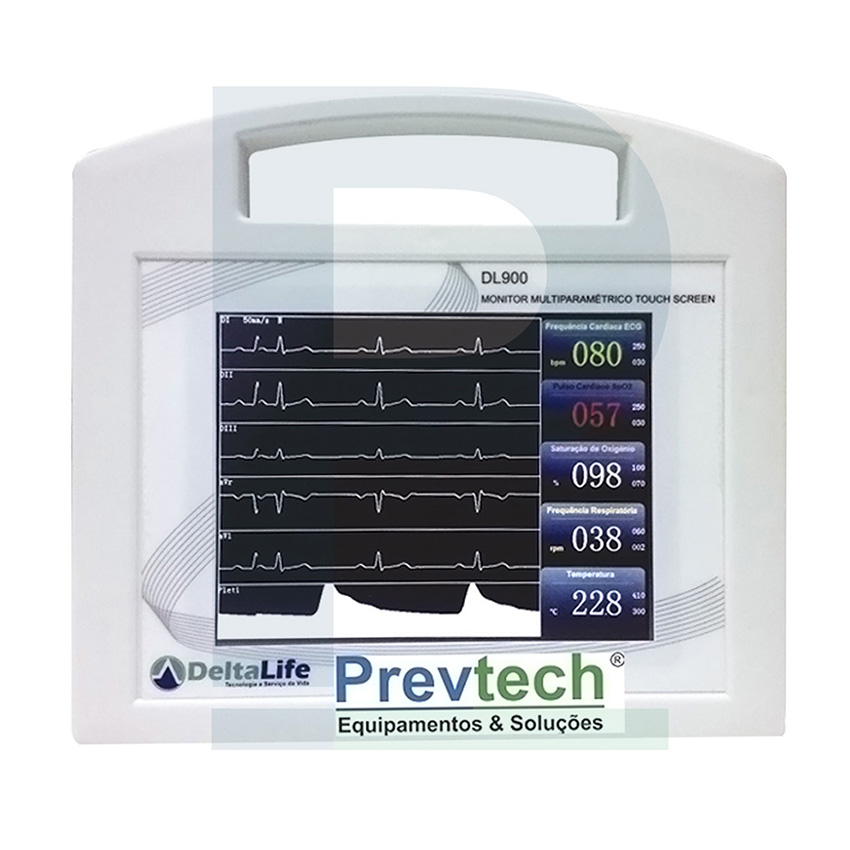 8 - Monitor Multi Parâmetro DL900 vet ( Spo2, ECG, Temperatura, Frequência ) bivolt