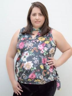 Blusa de Veludo Plus Size sem Mangas Floral