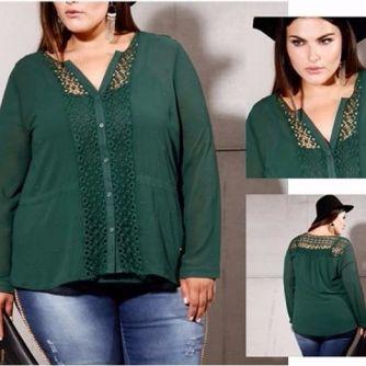 Blusa Chiffon Plus Size com Detalhes em Renda