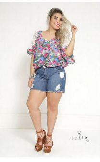 Blusa Plus Size Estampada com Renda